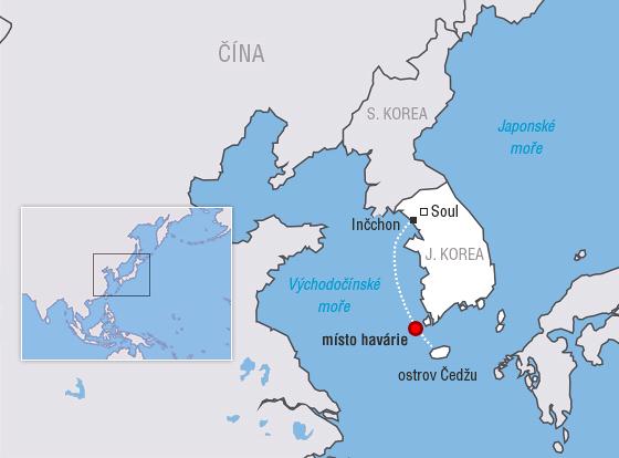 MAPA: Trasa jihokorejského trajektu Sewol, který se potopil cestou z Inčchonu na ostrov Čedžu.
