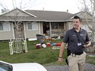 Dům, ve kterém Megan Huntsmanová dříve žila. V jeho garáži se našlo sedm těl mrtvých novorozeňat.(Utah, 13. dubna 2014).