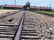 Výstava s podtitulem Memento dvou světových válek 20. století pro mladého člověka je na budějovické radnici k vidění do konce dubna. Na snímku je koncentrační tábor v Osvětimi.