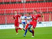 Momentka z fotbalového duelu Znojma a Baníku Ostrava (�ervená)
