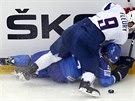 Francouzský hokejista Damien Fleury bojuje o puk s Brianem Ihnačákem z Itálie.