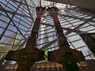 SYMBOL ZK�ZY. Trosky hasi�sk�ch voz� i schody, po nich� �ada lid� prchla do bezpe��. T�m�� t�in�ct let po teroru otev�raj� Ameri�an� hluboko v podzem� n�kdej��ho Sv�tov�ho obchodn�ho centra (WTC) muzeum v�novan� pam�tce ob�t� z 11. z��� 2001. Na sn�mku jsou torza vn�j��ch pylon� WTC.