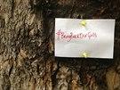 Lísteček s hashtagem #bringbackourgirls upozorňuje v centru Londýna na unesené nigerijské dívky (9. května 204).