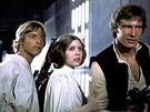 Mark Hamill, Carrie Fisherov� a Harrison Ford ve filmu  Hv�zdn� v�lky: Epizoda IV - Nov� nad�je (1977)