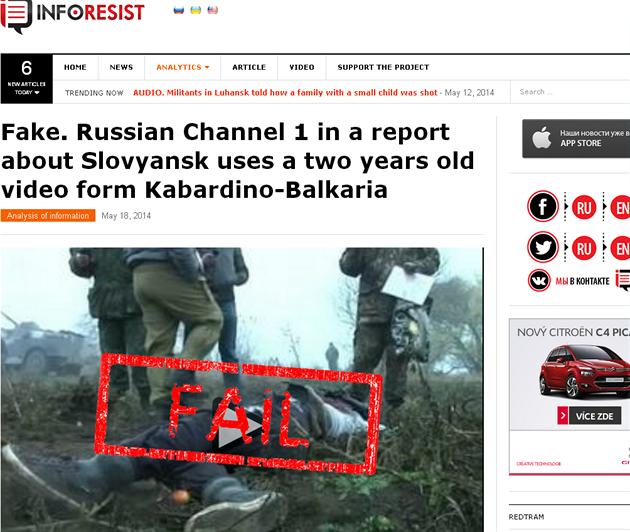 """Zpráva serveru InfoResist.org o falešném videu o """"zabitém u Slavjansku"""""""