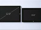 Uk�zka rozd�lu mezi st�vaj�c� generac� tablet� Surface (vpravo) a nov�m Surface Pro 3