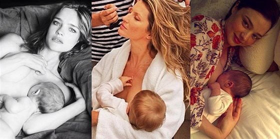 Natalia Vodianov�, Gisele B�ndchenov� a Miranda Kerrov� p�i kojen�