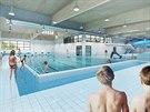 Hlavní 25m bazén a vzadu umístěný tobogán