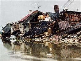 1997. Troubky na soutoku Moravy a Bečvy se staly symbolem tragických záplav
