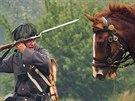 Ukázky bitvy na Chlumu u Hradce Králové se účastnilo čtyři sta vojáků, čtyřicet koní a dvacet děl (5. července 2014).