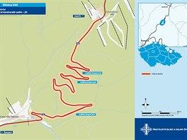 Mapa jižní části silnice přes Červenohorské sedlo, jejíž špatný stav si vyžádal rozsáhlou rekonstrukci včetně rozšíření některých zatáček a dobudování úseků pro předjíždění.
