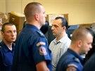 Jeden z obviněných při závěru soudního procesu s únosci podnikatelů, které vedl Michael Šváb. (18. července 2014)