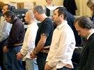 Závěr soudního procesu s únosci podnikatelů, které vedl Michael Šváb (druhý zprava). (18. července 2014)