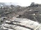 Trosky letounu malajsijských aerolinek s 298 lidmi na palubě, který se zřítil na východní Urajině.