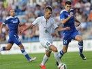 Michal Ďuriš z Mladé Boleslavi proniká v utkání druhého předkola Evropské ligy proti bosenskému celku Široki Brijeg.