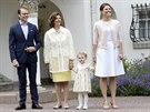 Princ Daniel, �v�dsk� kr�lovna Silvia, princezna Estelle a korunn� princezna Victoria (Borgholm, 14. �ervence 2014)