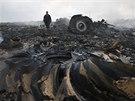 Trosky letounu malajsijských aerolinek s 298 lidmi na palubě, který se zřítil na východní Ukrajině (17. 7. 2014).