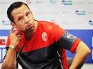 Pavel Horváth z Plzně na tiskové konferenci před pohárovým utkáním s rumunskou Ploještí.