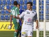 Michal Trávník ze Slovácka se raduje z gólu proti Bohemians.
