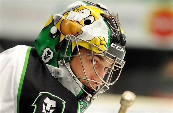 Mladoboleslavský gólman David Rittich si už tradičně dává na masku simpsonovské motivy.