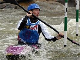 Štěpánka Hilgertová na mistrovství světa v Deep Creeku.
