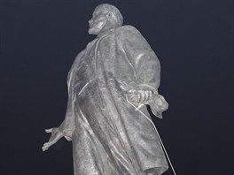 Svržení sochy V.I.Lenina ve východoukrajinském Charkově v neděli 28.září 2014