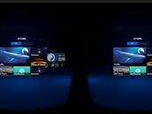 Hlavní nabídka aplikací pro Samsung Gear VR, jak ji zobrazuje displej telefonu pro každé oko zvlášť.
