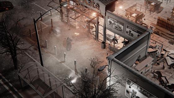 Akce Hatred využívá pohledu shora a černobílé grafiky jen drobně doplněné barvou.