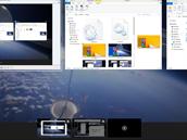 Práce s virtuálními plochami ve Windows je přístupná přes tlačítko k tomu určené. Všechny spuštěné aplikace na všech plochách vidíte na klasické liště s tím, že ty běžící na jiných plochách jsou podtržené.