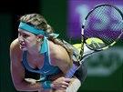 Kanadská tenistka Eugenie Bouchardová v duelu s Anou Ivanovičovou ze Srbska.