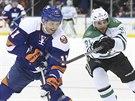 Lubomír Višňovský (vlevo) z NY Islanders odehrává puk před Tylerem Seguinem z Dallasu.