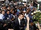 Jihoafrický atlet Oscar Pistorius dorazil k soudu, který rozhodne o výši jeho trestu (21. 10. 2014)