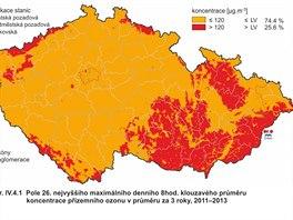 Mapa nejvy���ch osmihodinov�ch pr�m�r� koncentrace p��zemn�ho ozonu v letech 2011 - 2013.