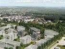 Nové sídliště Na Plachtě v Hradci Králové má vyrůst na místě někdejšího skladu dřeva. První tři domy z plánovaných dvaceti (vpravo barevně) vzniknou v roce 2016.