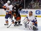 Jaroslav Halák hlídá brnaku NY Islanders před atakujícím Devantem Smithem-Pellym z Anaheimu, vlevo obránce Ľubomír Višňovský.