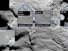 """Koláž z různých snímků pořízených sondou Rosetta během sestupu a po prvním """"skoku"""" modulu Philae na kometě Čurjumov-Gerasimenko. Na prvních třech detailech je vidět sonda během sestupu k povrchu komety. Pak se podařilo zachytit místo, kde se modul dotkl povrchu (přistání přistál v 15:34 GMT, foto vzniklo 9 minut poté). Je tu vidět stopy, kterou modu zanechal v povrchu. Philae při odrazu poněkud změnil směr a Rosettě se ho podařilo zachytit během vzestupné fáze dvouhodinového skoku, příznačně nad temnou oblastí plnou stínu. Modul však určitě spadl podstatně dále od místa prvního dopadu a v době zveřejnění fotografie místo jeho """"odpočinku"""" na kometě nebylo přesně objeveno."""