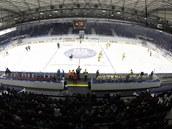 Kladenský stadion p�i utkání domácích hokejist� se �umperkem.
