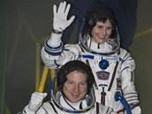 Tříčlenná posádka, která v listopadu 2014 odletěla na ISS. Samantha Cristoforettiová (ESA), Terry Virts (NASA), Anton Škaplerov (Roskosmos)