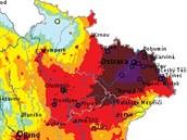 Mapa znečištění nebezpečným mikroskopickým prachem dokládá, že Moravskoslezský kraj je jednoznačně nejpostiženějším místem v zemi. (4. prosince 2014)