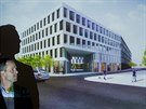 Architekt Ludvík Seko představuje projekt hotelu, kongresového centra a obchodů, které budou stát místo hradeckého hotelu Černigov (9.12.2014).