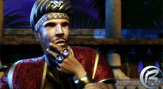 Zamyšlený sultán, jemuž půvabná Šeherezáda vypráví jeden ze svých příběhů.