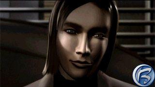 Detail obličeje neteře magnáta Jordana z úvodní animované sekvence.