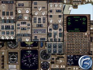 Kokpit Boeingu 767 ze simulátoru na PC - výhled zakrývají okna s ostatními přístroji
