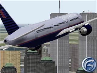 Boeing 767 United Airlines se blíží k Manhattanu