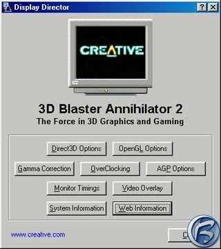 Pokročilejší ovladače Fastrax ke kartě Creative Blaster Annihilator Geforce GTS