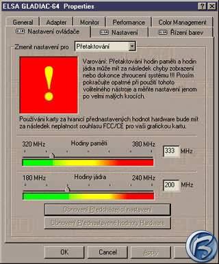 Přetaktovávací panel pro kartu Elsa Gladiac GeForce 2 GTS 64 MB