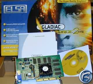 Pohled na kartu Elsa Gladiac GeForce 2 GTS 64 MB a příslušenství