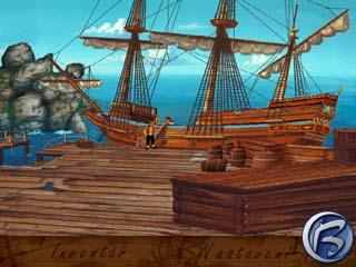 Pirátský koráb čeká na odplutí na Ztracený ostrov.