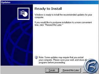 Obrazovka po automatickém stáhnutí update před potvrzením jeho okamžitého nainstalování