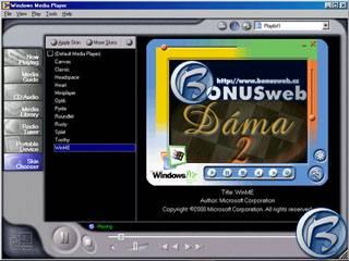 Nový Windows Media Player, v pravé části lze vidět jeden z možných skinů